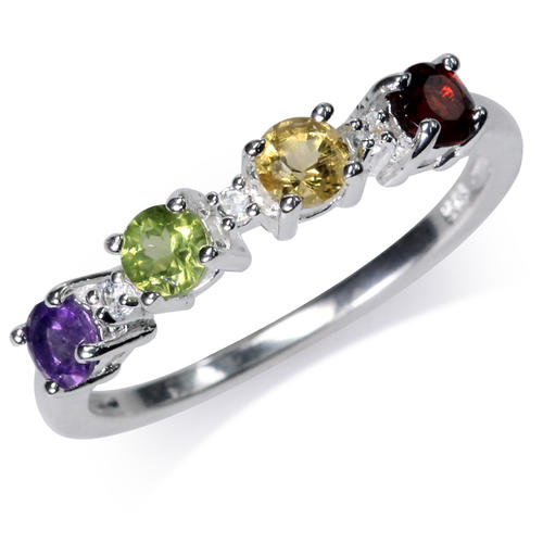 rings 0 83ct multi coloured gemstone promise ring in 925