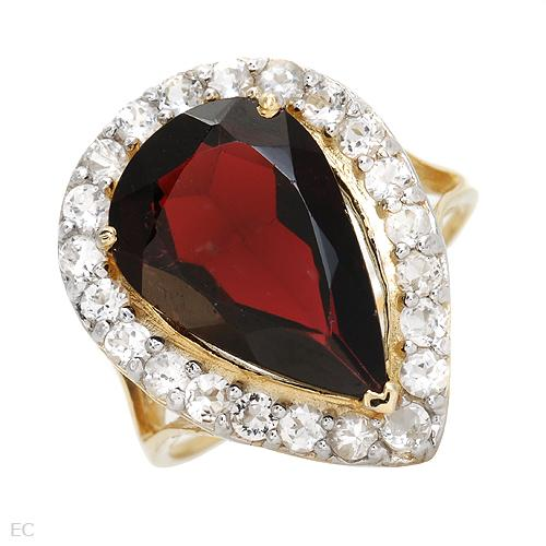 Gold EXCLUSIVE JEWELRY 10K Yellow Gold Topaz and Garnet Wedding Ring
