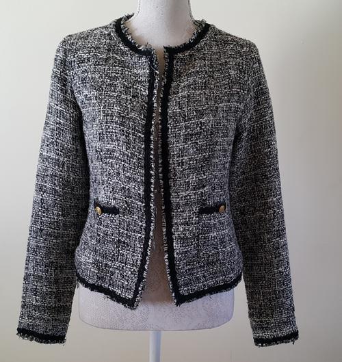 Jackets U0026 Coats - Ladies Jacket Chanel Style Tweed Look In Black U0026 White Size 34 FREE Postage In ...