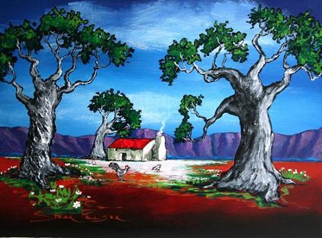 Pelser boland plaashuis met hoenders tussen bome 400 x 300