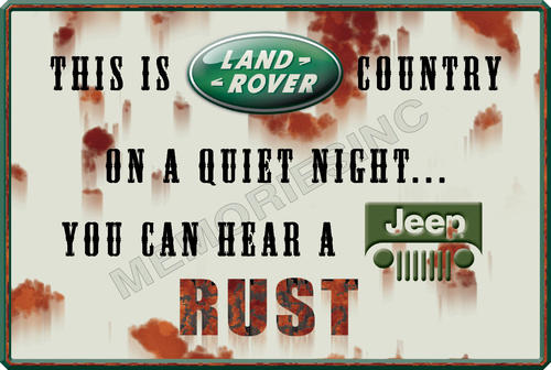 Signage - Landrover vs Jeep - Classic Metal Sign for sale in