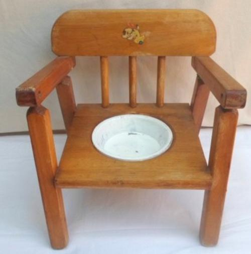 Vintage Toy Potty : Vintage toys s doll solid wood potty