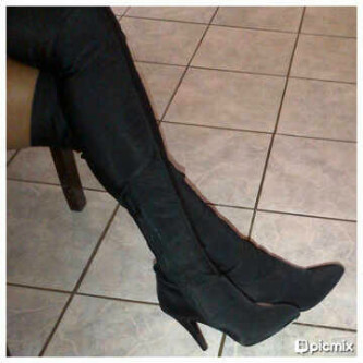 shoes black tight the knee high boots size 4