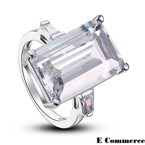 engagement rings 9 carat emerald cut lab created